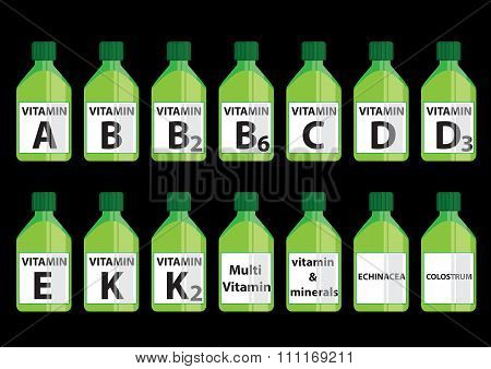 Vitamin plastic bottle set vector