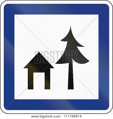 Official Slovenian Service Road Sign - Hostel