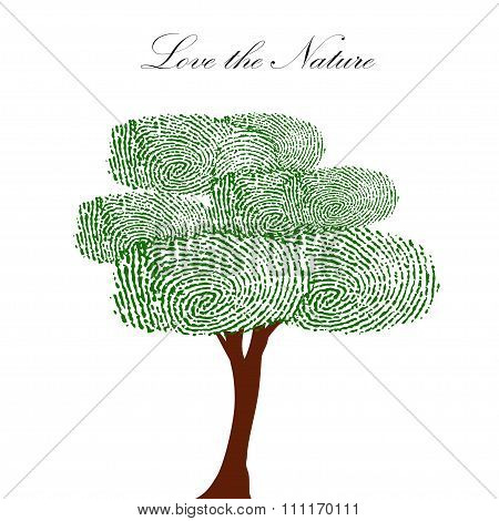 Heart green tree with finger prints vector EPS illustration.