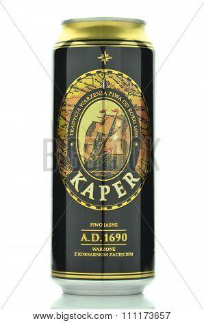 CIRCA OCTOBER 2015 - GDANSK:  Kaper lager beer isolated on white background