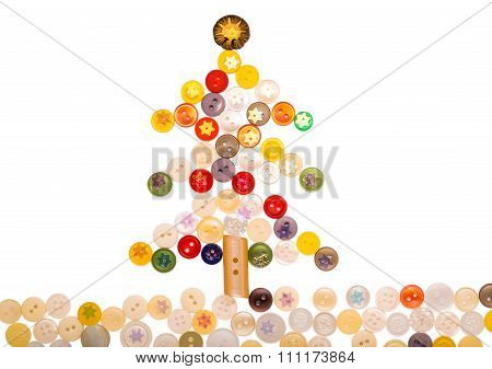 Christmas Tree From Different Colored Buttons And Decorated With Shiny Asterisks.