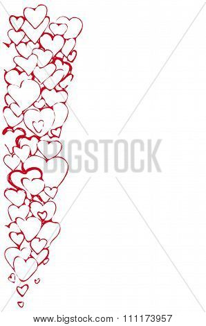 Vector Sketch Of The Background Of A Variety Of Red Hearts