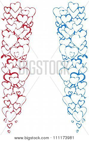 Vector Sketch Of The Background Of A Variety Of Red And Blue Hearts