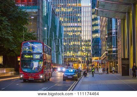 Canary Wharf street night view, London