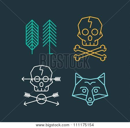 Vector set of cool logo templates on background. Retro styled trendy vector emblems. Fox, Skull, Arrows and Trees Logo.