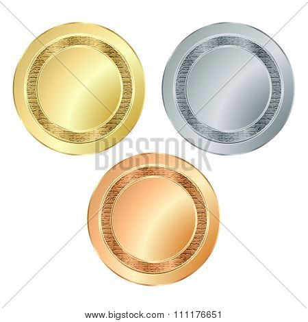 The Empty Vector Stamp With The Texture Of Gold Silver Bronze, Which Can Be Used As Icons, Buttons,