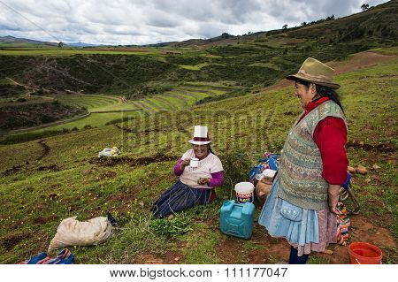 Two Peruvian women farmers near Maras, Peru