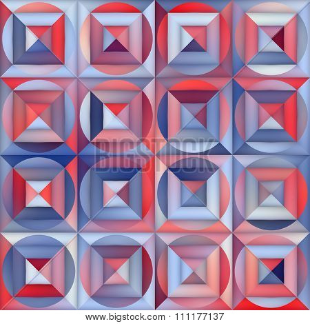 Vector Seamless Gradient Mesh Square Circle Blocks Geometric Pavement In Shades Of Blue And Red