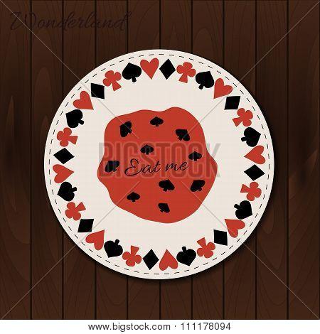 Cookie- drink coaster from Wonderland on Wooden Background