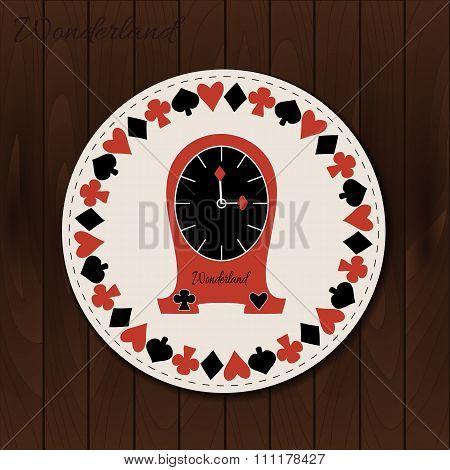 Clocks - drink coaster from Wonderland on Wooden Background.