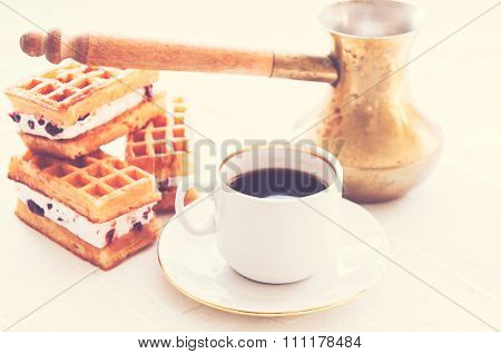 Coffe And Viennese Waffles