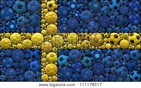 National Flag Of The Kingdom Of Sweden Soccer Balls Mosaic Illustration Design Concept