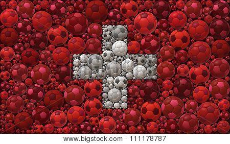 National Flag Of The Swiss Confederation Soccer Balls Mosaic Illustration Design Concept