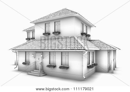 3D Model Of The House. 3d rendering.
