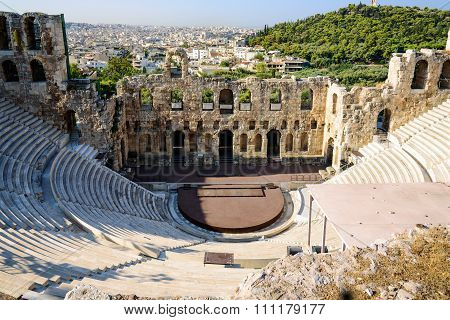 Ruins of ancient theater under Acropolis of Athens, Greece
