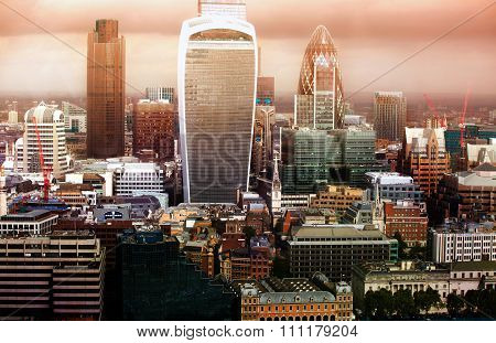 City of London panorama with modern skyscrapers