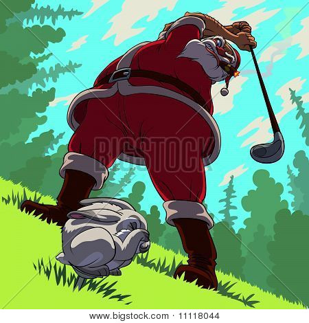 Golf backswing of Santa Claus
