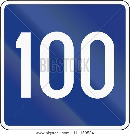 Slovenian Road Sign - Advisory Speed 100 Kmh