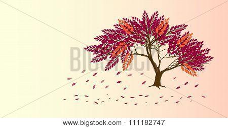 Abstract Porple And Orange Tree