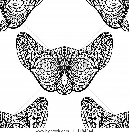 Seamless Pattern With Cat Faces.