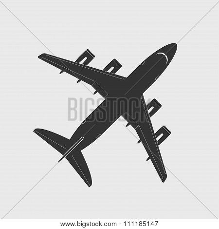 Cargo Aircraft Silhouette. Top View