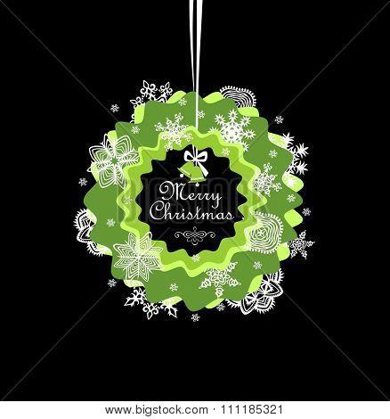 Seasonal greeting with paper xmas wreath