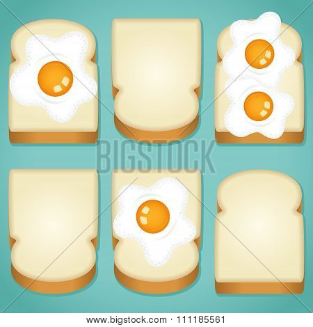Variously toasted bread with eggs background