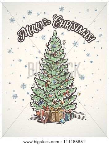 Christmas tree fir with toys and gifts. Christmas card.