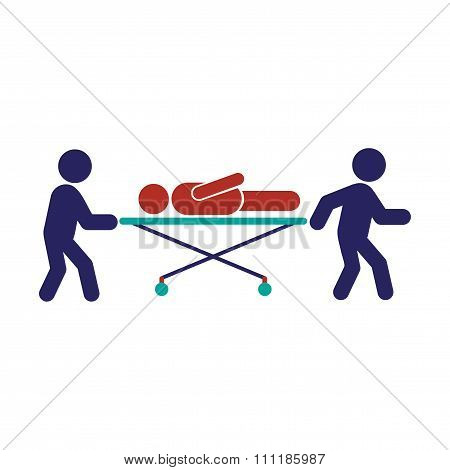Modern flat icon on white background patient on stretcher
