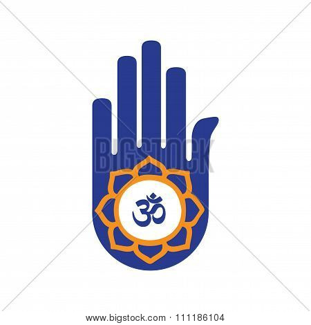 Modern flat icon white background flag hand sign of om