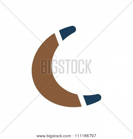 flat icon on white background toy boomerang