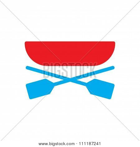 flat icon on white background  boat oars