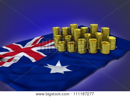 Australian economy concept with national flag and golden coins