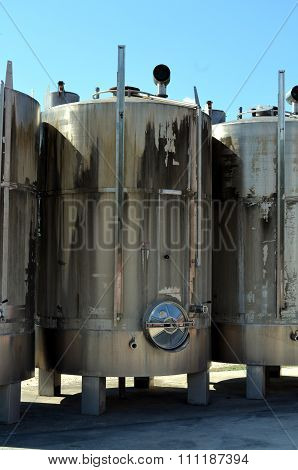 Stainless Steel Tanks For A Fermentation Of Wine Modern Manufacture Of Winemaking