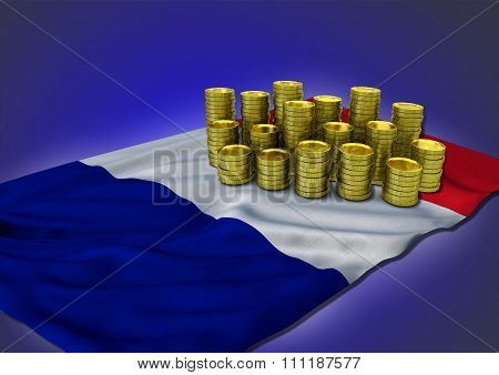 French economy concept with national flag and golden coins