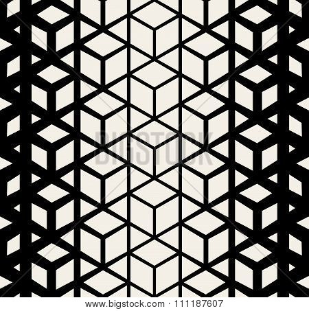 Vector Seamless Black And White Triangle Rhombus Cube Halftone Pattern