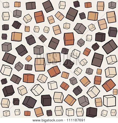 Vector Seamless Box Cube Random Scale Jumble Pattern