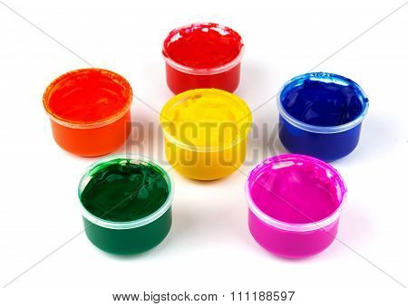 Color Paint Cans And Color Dabs Of Paint