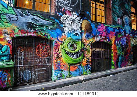 Street art in Melbourne laneway