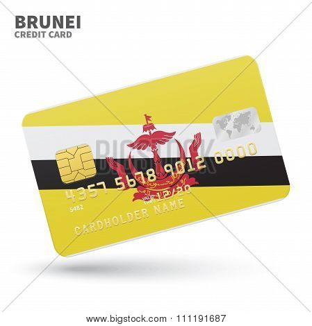 Credit card with Brunei flag background for bank, presentations and business. Isolated on white