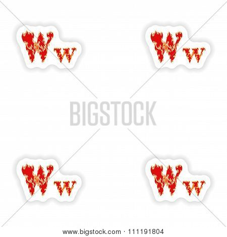 assembly stickers fiery font red letter W on white background