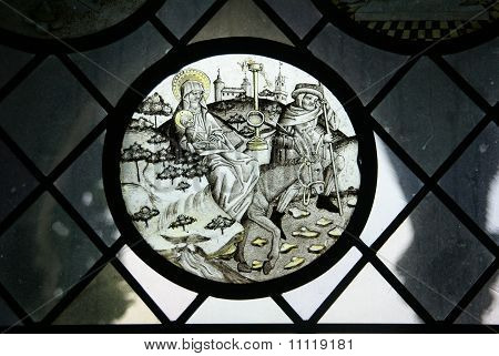 Stained Glass, Jesus Christ , Mary And Joseph