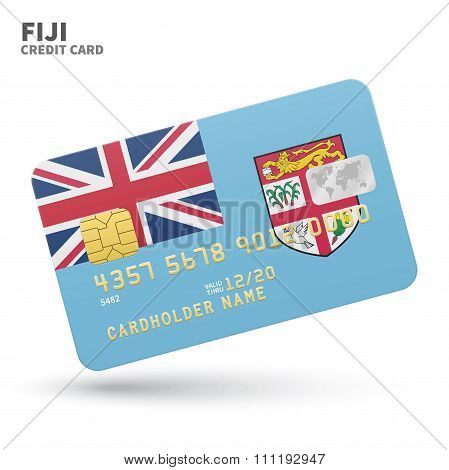 Credit card with Fiji flag background for bank, presentations and business. Isolated on white