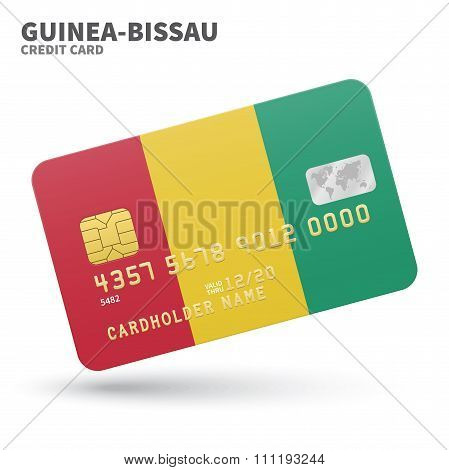 Credit card with Guinea-Bissau flag background for bank, presentations and business. Isolated on whi