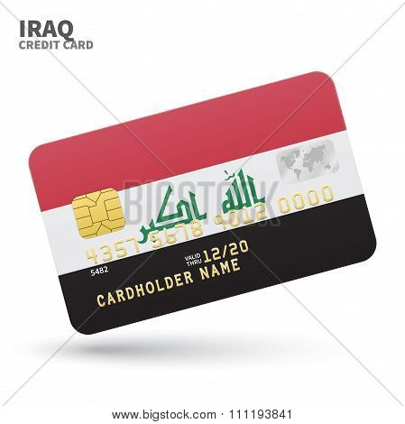 Credit card with Iraq flag background for bank, presentations and business. Isolated on white