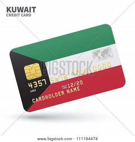 Credit card with Kuwait flag background for bank, presentations and business. Isolated on white