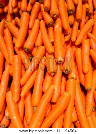 The Fresh Orange Carot In The Market Close Up