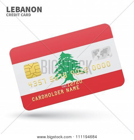 Credit card with Lebanon flag background for bank, presentations and business. Isolated on white