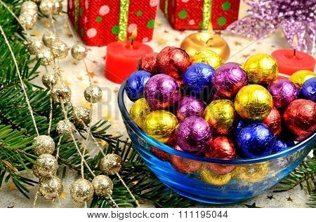 Christmas Decoration With Colorful Tinfoil