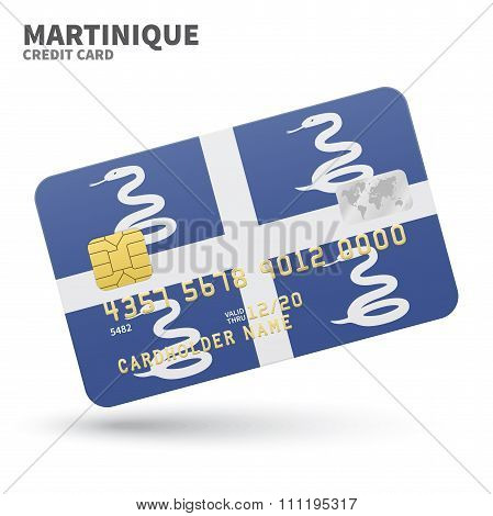 Credit card with Martinique flag background for bank, presentations and business. Isolated on white